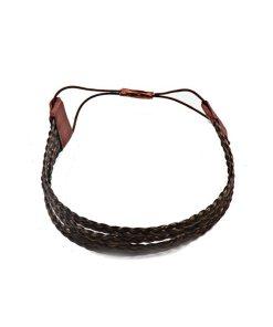 Haarband aus geflochtenem Kunsthaar vierreihig dunkelbraun