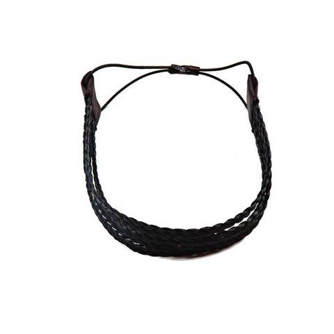Haarband aus geflochtenem Kunsthaar vierreihig schwarz