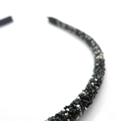 Haarreifen breit schwarz/silber Detail
