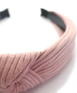 Haarreifen Stoff mit Knoten rose Detail