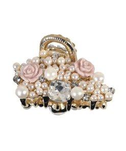 kleine Wasserwellklammer mit Perlen, Strass und kleinen rosefarbenen Rosen gold