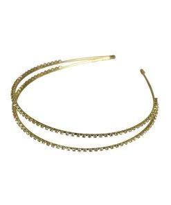 Haarreifen doppelt in gold mit Strasssteinen