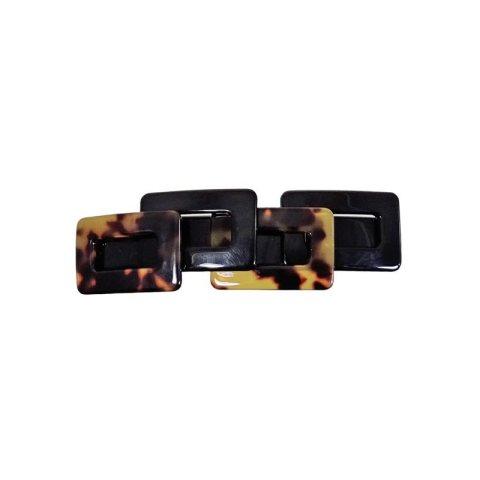 Patentspange Plattenmaterial breit mit aufgesetzten Vierecken schildpatt