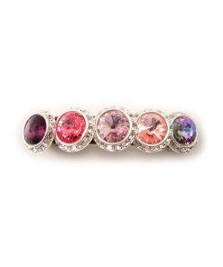 Haarspange mit vier runden Swarovskisteinen in unterschiedlichen Farbschattierungen umrahmt von kleinen Strasssteinen pink