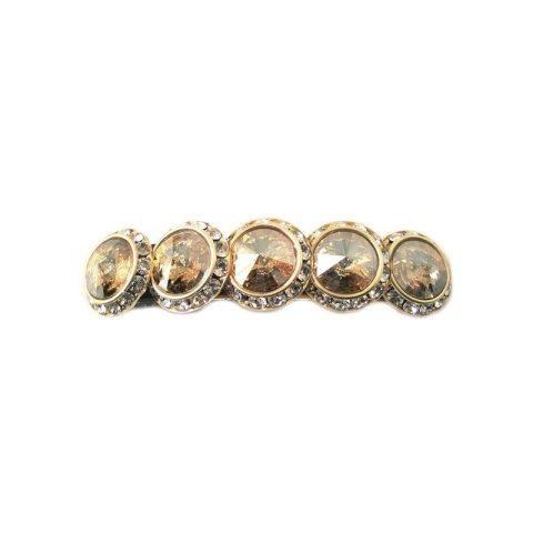 Haarspange mit vier runden Swarovskisteinen in unterschiedlichen Farbschattierungen umrahmt von kleinen Strasssteinen gold braun