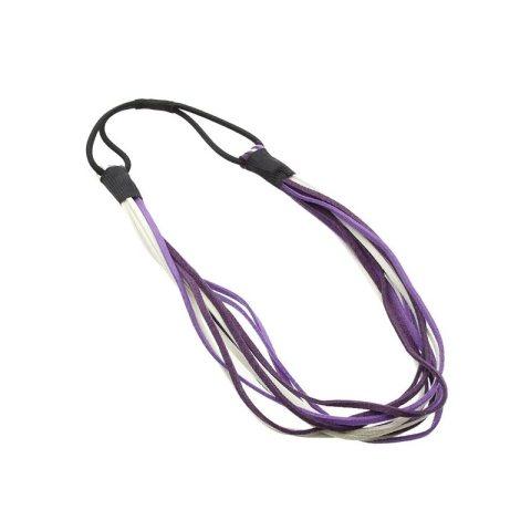 Haarband aus echtem Leder in mehreren Strippen mit unterschiedlichen Farben weiß, lila mit Gummizug