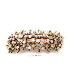 Patenthaarspange Gestell gold mit vielen Swarovskisteinen in unterschiedlicher Größe und Farbschattierungen aqua beige rose opal
