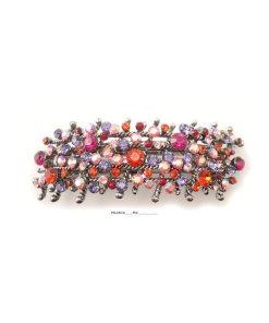 Patenthaarspange Gestell silber mit vielen Swarovskisteinen in unterschiedlicher Größe und Farbschattierungen multi