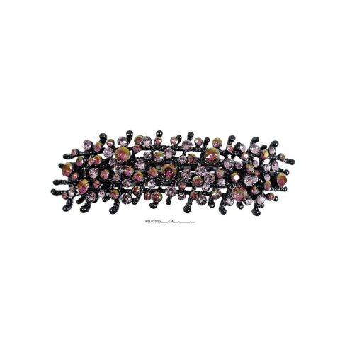 Patenthaarspange Gestell schwarz mit vielen Swarovskisteinen in unterschiedlicher Größe und Farbschattierungen lila