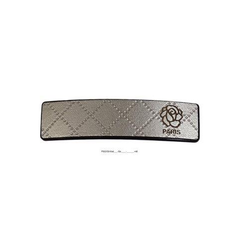 Patentspange Kunststoff schwarz mit Rautenmuster gold und aufgesetzter schwarzer kleiner Rose