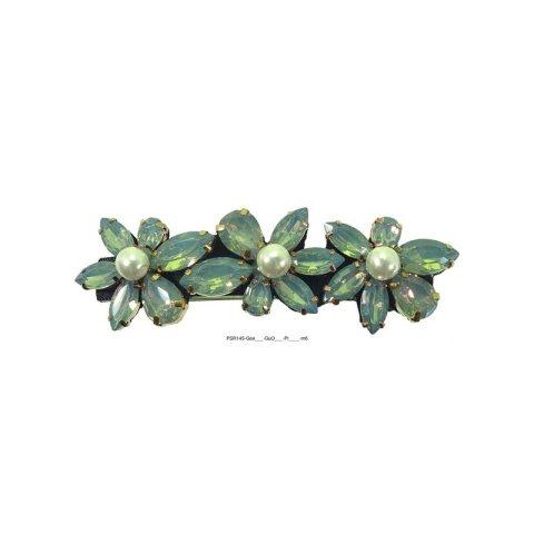 Patentspange mit Strass und Perle gerade Form grün