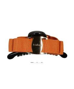 kleine Haarklammer mit Schleife aus Stoff schwarzorange