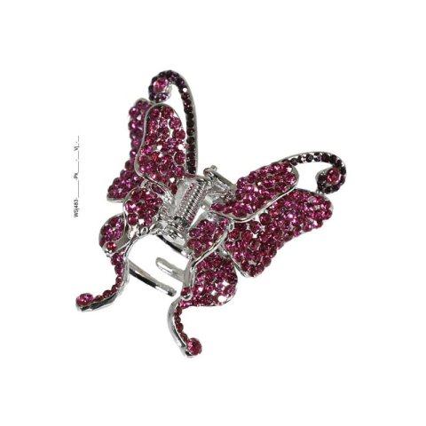Haarklammer Schmetterling mit funkelnden Strasssteinen (pink)