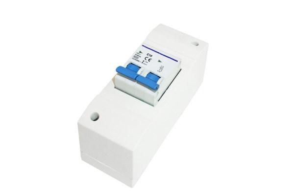 Installatiekast 2-module + dbp zekering 10Amp.