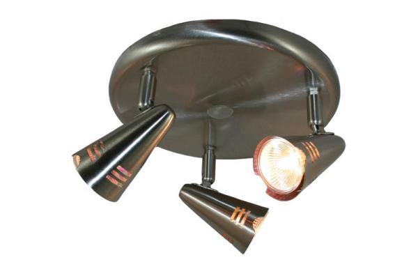 Jesper plafonnière 12V LED 3W 3xMR16 staal