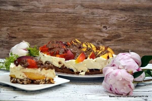 No Bake Nektarinen Schoko-Joghurt Torte