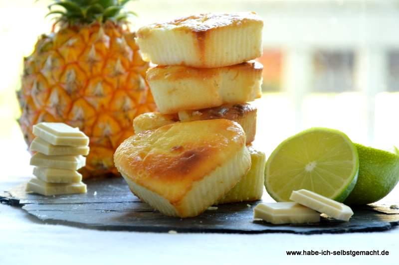 Weiße Ananas Limetten Ricotta Muffins