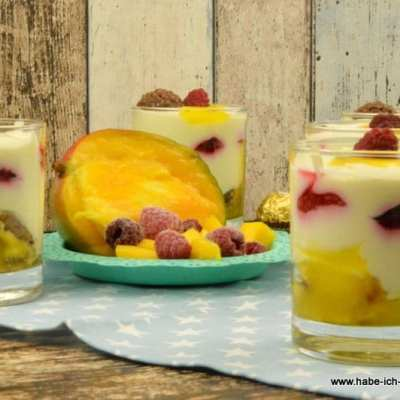 Mango Himbeer Vanille Creme Dessert im Glas
