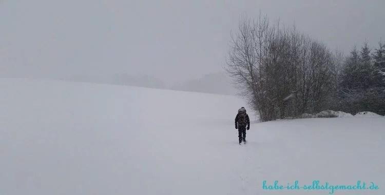 Winterwandern Goldsteig - Wanderweg unter Schnee verschwunden
