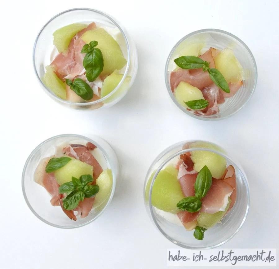 Burrata-Melonen Caprese im Glas