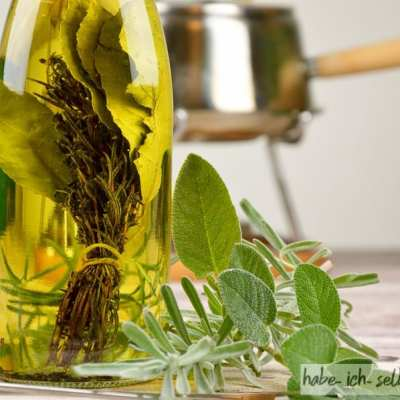 Fondue-Kräuter-Öl als Geschenkidee mit Etikett zum Download
