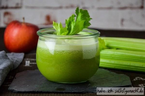 frisch gepresster Apfel Sellerie Gurke Saft 3
