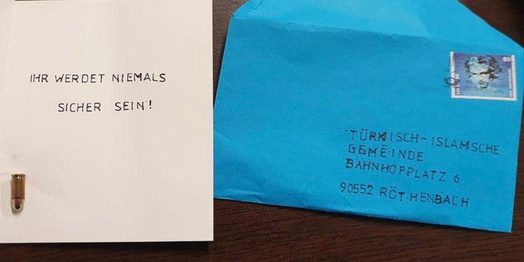 DİTİB camisi içinde mermi olan mektupla tehdit edildi
