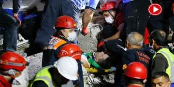 Buse 9,5 saat sonra enkazdan sağ çıkarıldı (VİDEO)