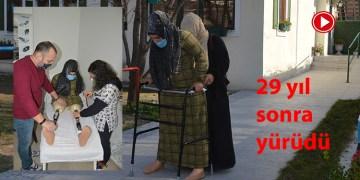 Doğuştan bacakları olmayan genç kıza Avruaplı Türklerden protez bacak (VİDEO)