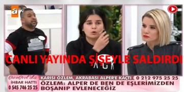 Canlı yayında karısına şişeyle saldırdı (VİDEO)