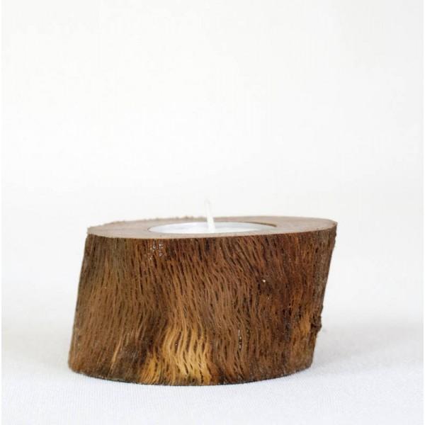 Portavelas rstico  tronco de madera encina