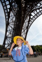 Madeline in Paris at the Eiffel Tower