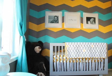 Habitacin del beb azul y amarillo