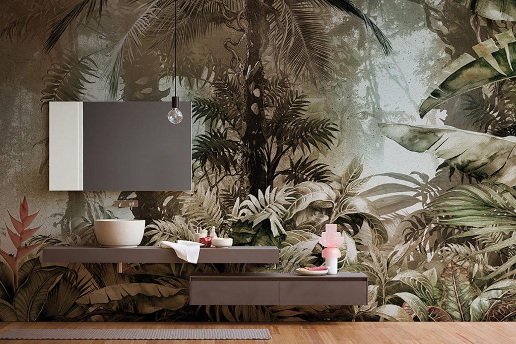 Per dare un twist ad un soggiorno moderno e in stile industriale si può usare una parete adesiva con mattoni o scritte. La Carta Da Parati In Bagno Le Nuove Collezioni Ecosostenibili Habitante