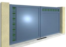 CLAUSTRALU Portail battant Tôlé Découpée-Plexi Vert Asymétrique