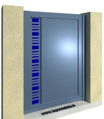 CLAUSTRALU Portillon Tôlé Découpée-Plexi Bleu Asymétrique