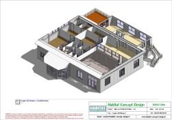 Mise en plan d'un bâtiment industriel pour agrandissement coupe 3D étage
