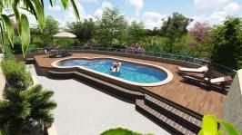 Conception plages piscine sur villa sur Grasse