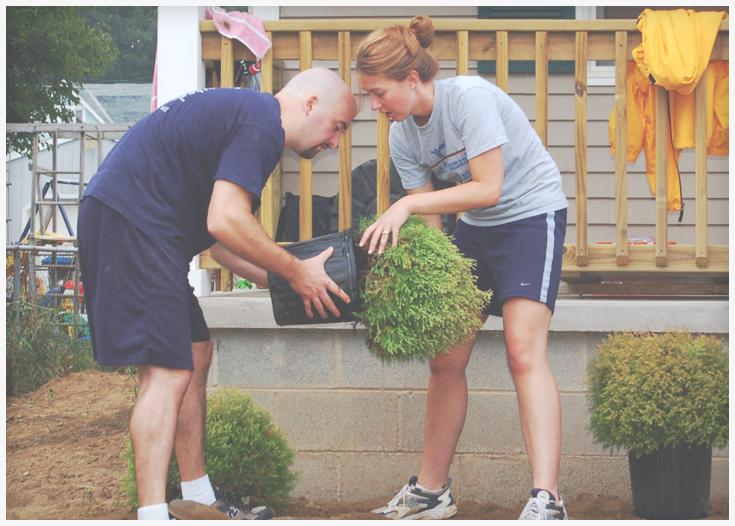 Volunteers working on landscaping