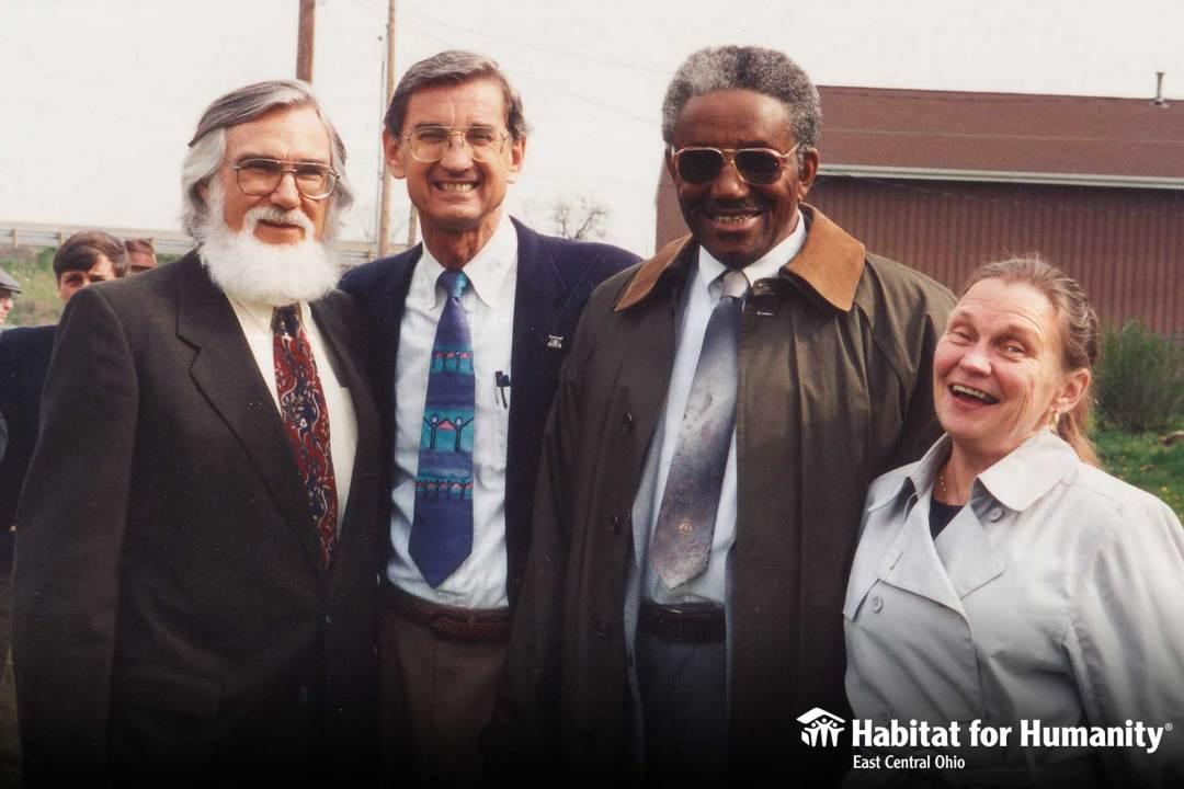 L to R: Bill Clark (founding member of Habitat for Humanity), Millard Fuller (founder of Habitat for Humanity), Chester Jackson (Habitat ECO volunteer), Joanna Clark