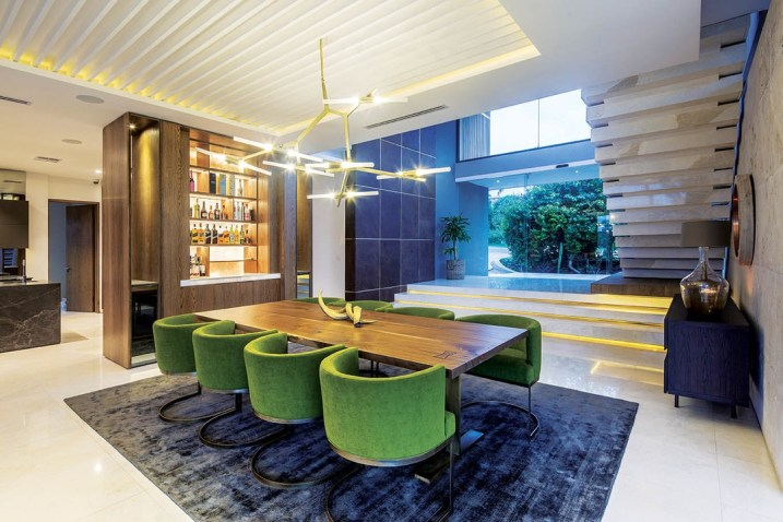 Reception spaces are predominantly open plan and include: lounge, dining room and kitchen all linked by direct flow onto covered and open terraces.