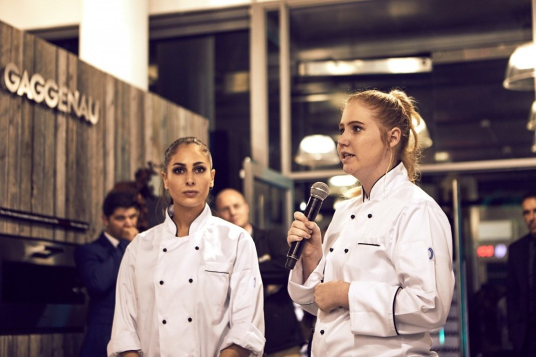 Alexia Damianou and Amy Butler from the Bosch experience stand introducing their delectable pastries to the guests