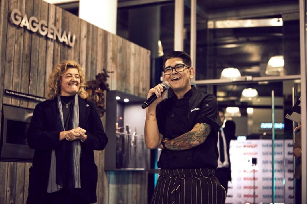 Chef Marthinus Ferreira (Brand Ambassador for Gaggenau) introducing his culinary delight with Heidi Duminy