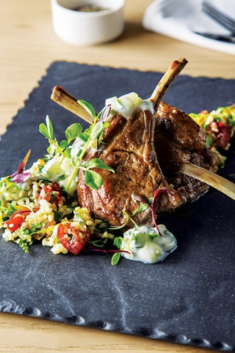 Lamb cutlets, tabouleh salad with cucumber raita