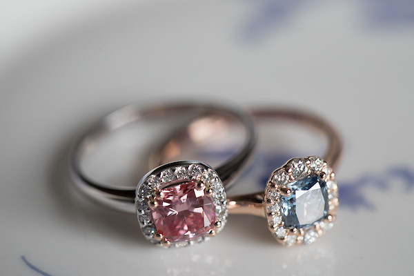ShinyRock Pink & Blue Diamond Rings