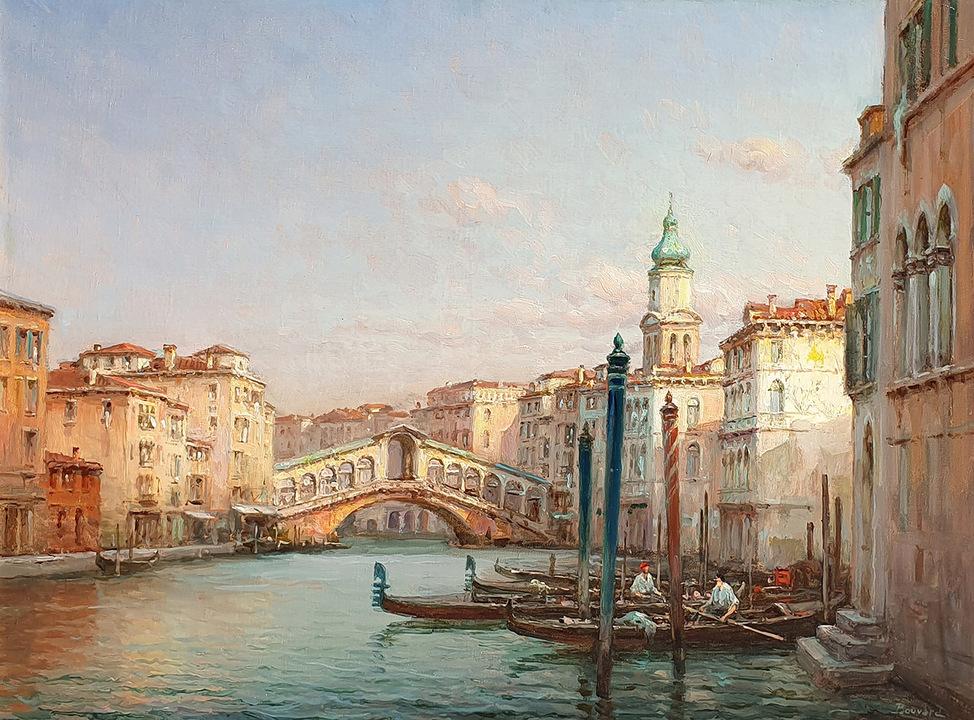 HR HAYNES FINE ART Antoine Bouvard - The Rialto Bridge, Venice