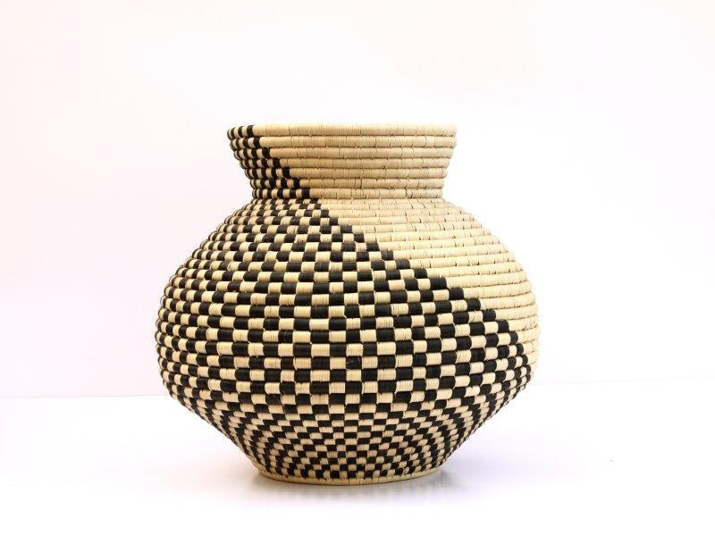 Chequered gourd by Design Afrika created in conjunction with Zulu weavers in KZN.