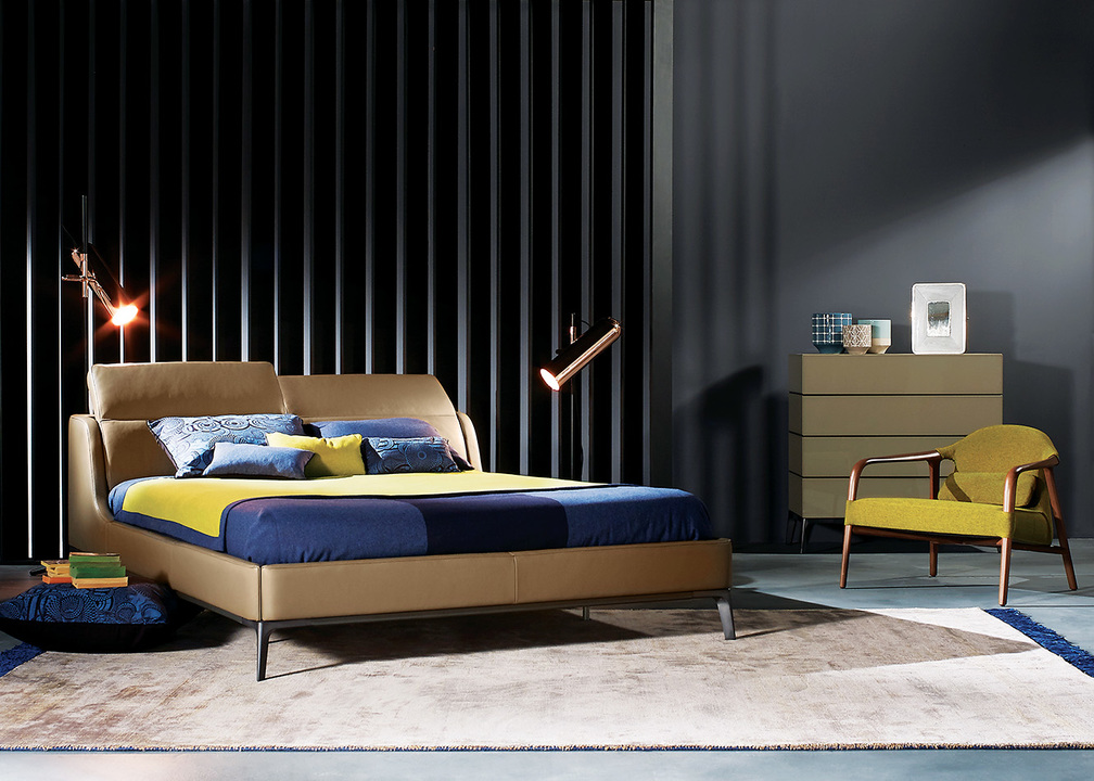 Cassiopee Bed designed by Cédric Ragot for Roche Bobois: Upholstered in Tendresse leather, corrected embossed grain and matt pigmented finish. Back cushions and headrest manually adjustable (available as electrical version with remote control).