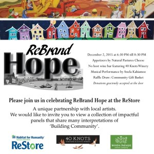 """Art Opening """"ReBrand Hope' at the ReStore December 2nd"""