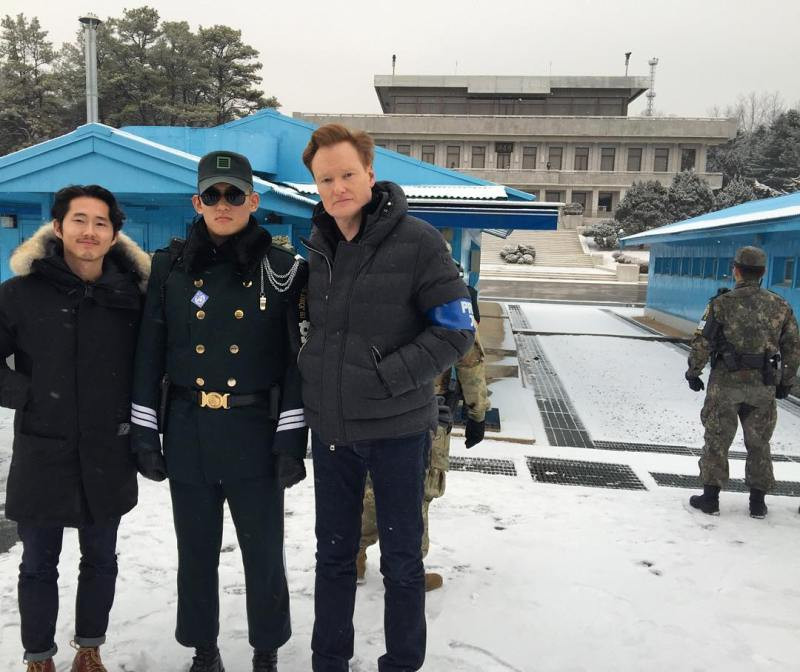 Conan O'Brien and Steven Yeun visit JSA